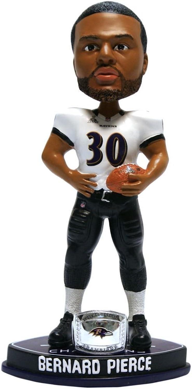 NFL Baltimore Ravens Pierce B.  30 Super Bowl XLVII Champions Ring Bobble Figurine, Black