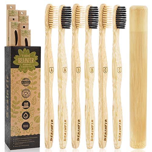 Beainfir - Cepillo de dientes de bambú, 6 unidades, biodegradable, con estuche, respetuoso con el medio ambiente, para dientes blancos saludables