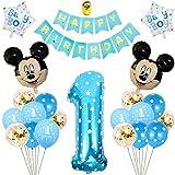 Decoraciones de Cumpleaños de Mickey, BESTZY 1er Cumpleaños Bebe Azul Globos Decoraciones de Fiesta Temática Azul de Mickey Globos de Confeti de Latex Boy