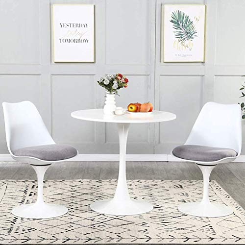 3 Pieces Dining Table Set, Mid-Century Modern Tulip MDF Dining Room Table and 360°Swivel Fabric Upholstered Chairs for 2 Person,Kitchen Table and Chairs for Home,Office(1 White Table + 2 Grey Chairs)