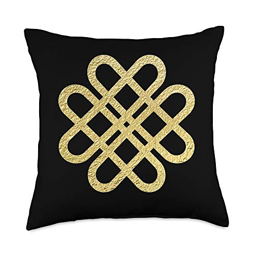 Friend Yourself Celtic Knot Designs Celtic Knot Hearts Ancient Gaelic Irish Symbol Design Throw Pillow, 18x18, Multicolor