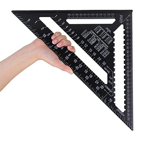 LYCOS3 - Regla Triangular Cuadrada de aleación de Aluminio de 12 Pulgadas, Alta precisión de Aluminio para Techo, Escala, Velocidad Cuadrada, Carpintero, Herramienta de medición para Carpintero