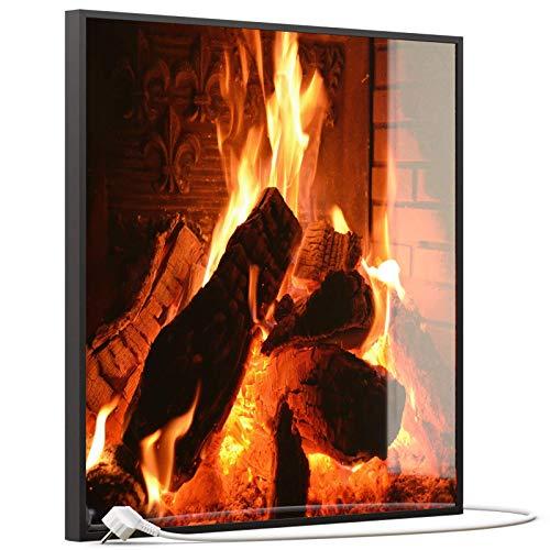 STEINFELD Heizsysteme® Glas Bild Infrarotheizung mit Thermostat | Kamin Feuer | viele Motive 350-1200 Watt Rahmen schwarz (350 Watt, 032 Kamin)