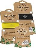 Parakito - PROTECCION NATURAL ANTIMOSQUITO - KIT 2 x Para'kito PULSERA repelente de mosquitos (Negro y Amarillo) + 1 x Recarga Para'kito Para Pulsera