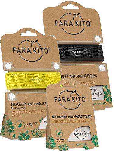 Parakito - PROTECCION NATURAL ANTIMOSQUITO - KIT 2 x Para'kito PULSERA repelente de mosquitos (Negro y Amarillo) + 1 x Recarga Para'kito Para Pulsera ✅