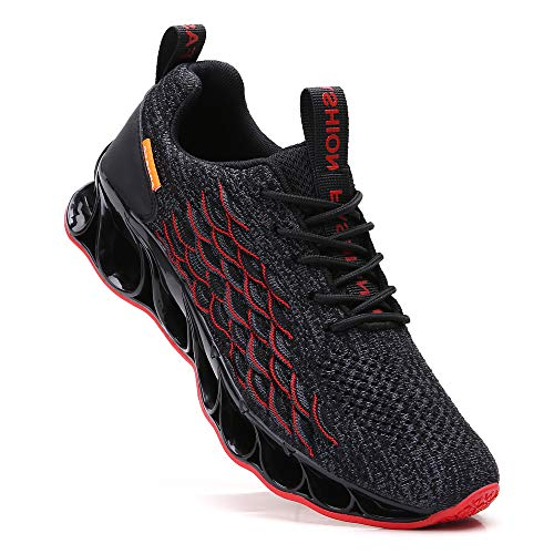 SKDOIUL Sneakers for Men Sport Running Shoes Athletic Tennis Walking Shoes Fashion Sneaker mesh Breathable Black red Size 8