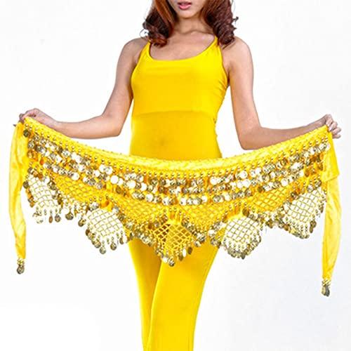 WEIJ Barriga Danza Cintura Cadena Gypsophila Cintura Bufanda Escaramujo Toalla Indio Danza Disfraz Sagú Cinturón con Oro Monedas Faldas (Color : Yellow - Gold)