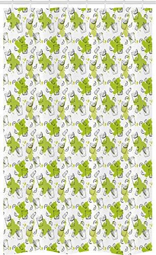 ABAKUHAUS Tequila Douchegordijn, Citroenplakken Salt Shaker, voor Douchecabine Stoffen Badkamer Decoratie Set met Ophangringen, 120 x 180 cm, Apple Groen Grijs