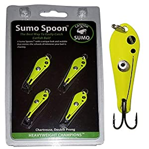 """Sumo Spoon – Catfishing Bait Spoon for Skipjack, White Bass, Striped Bass and Other Baitfish, 1 5/8"""" (1 5/8"""", 2-Prong, Chartreuse)"""