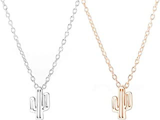 2Pcs Cactus Pendant Necklace Rose Gold Silver Friendship Tiny Clavicle Necklace Gift
