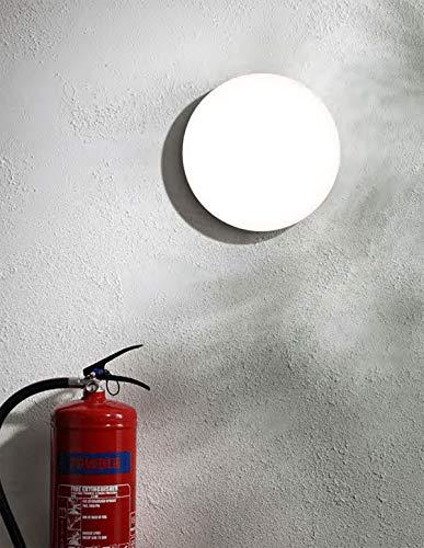 CGC Ópalo blanco redondo Interior al aire libre Luz de techo de pared Mampara 13W 800lm 4000K AC220-240V IP44 26cm Ideal para baño Porche Hall Dormitorio Cocina Jardín al aire libre