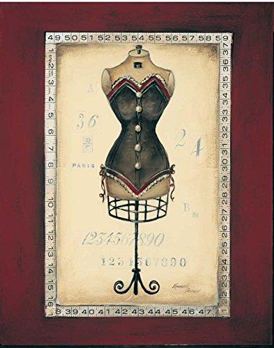WANDAFBEELDING-op-CANVAS-Taille-de-Robe-II-Poloson-Kimberly-Country-French-Print-op-canvas-op-houten-frame-voor-wanddecoratie-Afbeelding-gedruckt-op-ingeli-Afmeting-118_X_91_cm