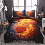 NTBED Basketball Comforter Set Full for Boys Teens, 3-Pieces Sports Bedding Comforter ,All-Season Reversible Fire Printed Quilt Set with 2 Matching Pillow Shams