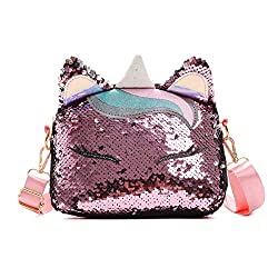Unicorn Pink Sequins Crossbody Shoulder Bag