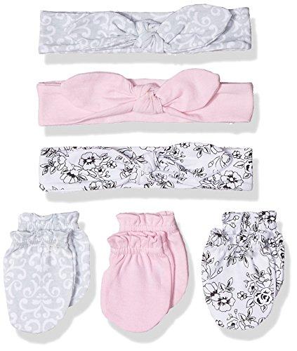 Hudson Baby Unisex Baby Cotton Headband and Scratch Mitten Set, Toile, 0-6 Months