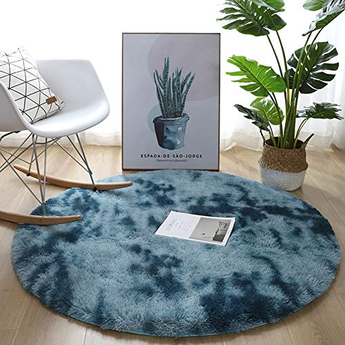 JYMDH Plush Modern Rugs,Large Soft Touch 1.77 Inches Thick Pile Bedroom Living Room Area Rugs Non Shed Washable Home Decor Fluffy Rug Aqua Blue 120x120cm(47x47inch)