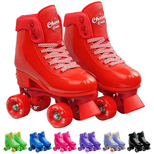 Crazy Skates Adjustable Roller Skates for Girls and Boys - Soda Pop Series (Red/Small)