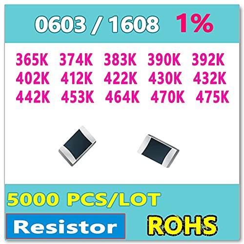 Davitu Electronics Video Games Replacement Parts - JASNPROSMA OHM 0603 F 1% 5000pcs 365K 374K 383K 390K 392K 402K 412K 422K 430K 432K 442K 453K 464K 470K 475K smd 1608 Resistor - (Color: 0603 F 402K)
