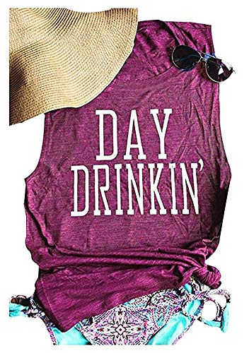 Women's Day DrinkingTank Tops Funny Letters Print Vest T-Shirt Summer Casual Graphic Tee(Purple, S)