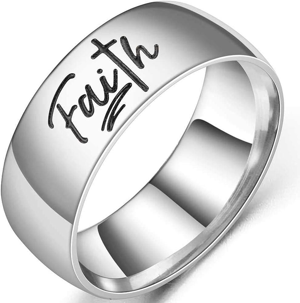 8MM Stainless Steel Christian Faith Cross Religious Wedding Band Ring