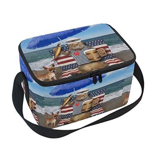 Emoya Katzen-Becher mit Bier, geräucherter Fisch, blauer Regenschirm, tropischer Strand, isoliert, für Kinder, Erwachsene, Büro, Schule, Arbeit