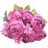 MHSXHXY 6 Cabezas 2 Brotes Flores Artificiales Peonía Flor De Seda Rosa DIY Decoración De Ramo De Novia para Boda Fiesta Nupcial Decoración De Oficina En Casa Día De La Madre Acción De Gracias