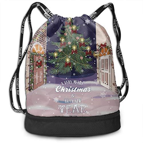 DPASIi - Mochilas con cordón, diseño de Carol de Navidad, Fondo con Papá Noel Rudolph, Color color5, tamaño Talla única