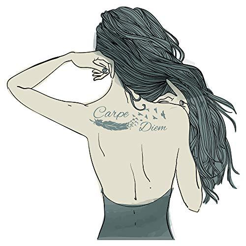dekodino® Adesivo murale design moderno donna con tatuaggio carpe diem deco