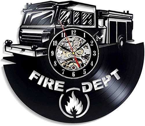 ZAWAGU Vinyl Wanduhr Geschenke Dekoratives Haus aus CD LP 3D Feuerwehr Feuerwehr Modernes Design für Wohnzimmer Vintage s Dekor für Feuerwehrleute 12 Zoll