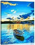 Suntown Pintura por números Marco de Madera 40x50cm Pintura de la Lona para Adultos y niños con Pinturas acrílicas y 3 Pinceles - Hermoso Lago