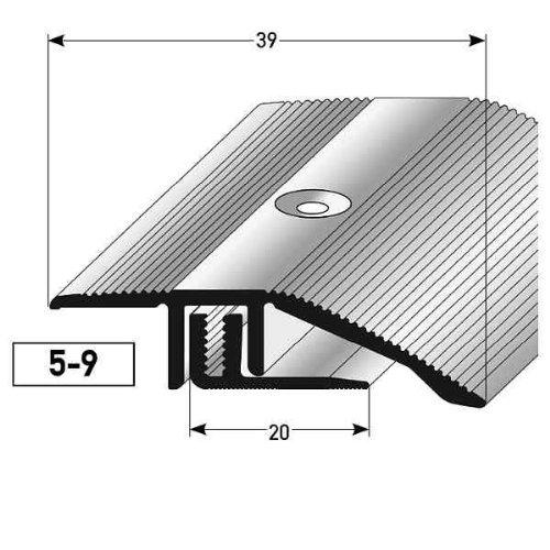 50 Meter (50 x 1 m) Ausgleichsprofil Laminat Parkett/ Ausgleichsleiste / Übergangsprofil, für Höhe 5 9 mm, 39 mm breit, 2-teilig, Alu eloxiert, gebohrt, Farbe: Bronze Hell