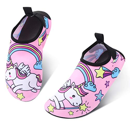 RELEASE SPINNER Toddler Water Shoes Unicorn Design Kids Beach Shoes Quick Dry Non-Slip Skin Barefoot Swim Water Shoes for Beach Outdoor Sports