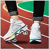 HANHJ Patines De Rodillos, Patines De Patas De Quads All Sheels Light Up Double Row Rollerskates Unisex para Niños Principiantes Chicas Y Niños,White-39