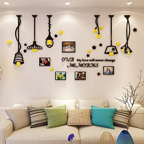 Alicemall Adesivi Murali Adesivo da Parete Wall Sticker in Acrilico Rimovibile a Forma di Cornici Porta Foto con Gialla e Nera Luce