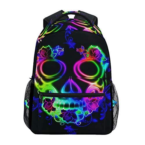 Schulrucksack Büchertasche Horror Bunt Totenkopf Geist Halloween Rucksack Daypack Wasserdicht für Mittelschule Reisen Mädchen Jungen Teenager