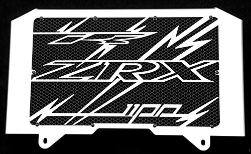 Kühlerverkleidung/Kühlerabdeckung polierten Edelstahl für 1100 ZRX 1998>2000 Design «Eclair» + schwarzes Schutzgitter