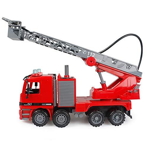 ROCK1ON Speelgoed Fire Truck Model voor Kinderen met Lichten en Geluiden Brandweerwagen Bouw Voertuig Met Werkende Pomp Verplaatsbare Ladder Vroeg Leren Cadeau voor Kinderen
