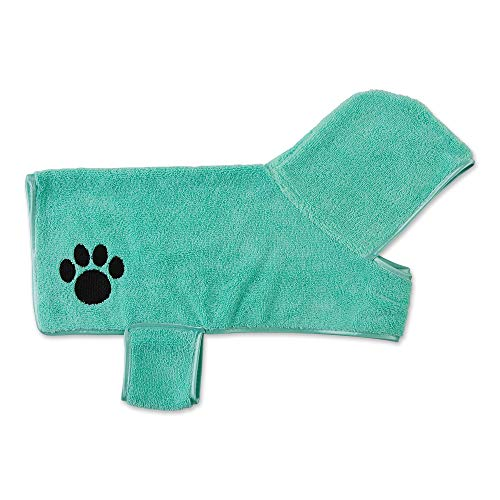Bone Dry Pet Collection Embroidered Terry Microfiber, Pet Robe - Small, 20x14, Aqua