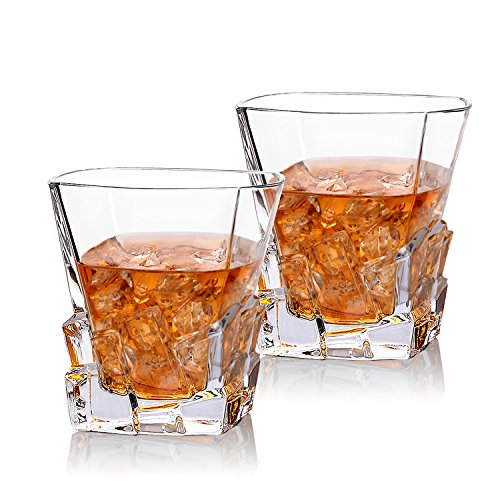 Cooko Iceberg, Bicchieri da Whisky, in Vetro di Cristallo, Accessori da Vino, per Whisky, Cocktail, Bourbon, Succo, 300 ml, Set da 2