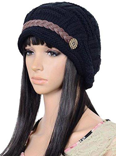 DaoRier Chapeau Chaud Béret Femme Hiver Chapeau d'hiver a Pompon Bonnets Épais Stretchy Slouchy Chapeau pour Femmes Fille Cadeau de la Saint-Valentin (Noir)