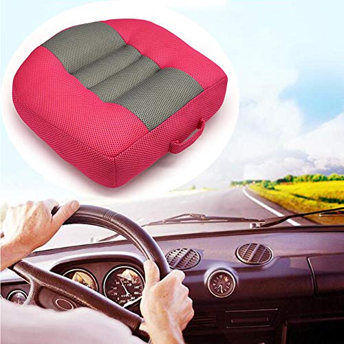 Car Seat Cushion Booster Seat, Heightening Height Boost Mat, Breathable Mesh Portable Car Seat Pad Angle Lift Seat for Car, Office,Home, (15.7x15.7x4.7inch) (Rose red)