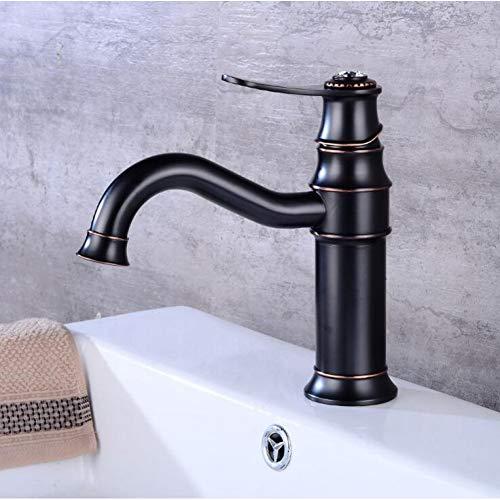 LCBLC Waschtischarmaturen Schwarz Öl Eingerieben Bronze Messing Wasserhahn Deck Montiert Einhand Einlochmontage Kalt- Und Warmwasser Waschbecken Mischbatterie