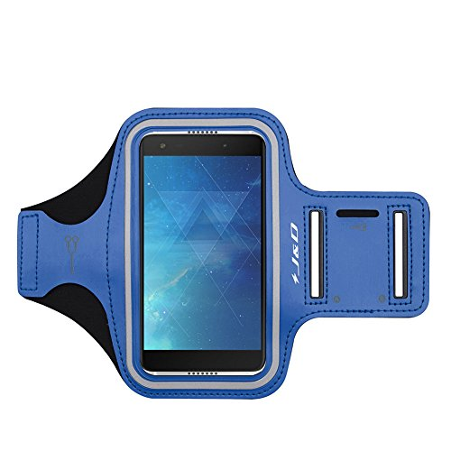J&D Kompatibel für Alcatel Idol 5S Armband, Sport-Armband für Alcatel Idol 5S, zusätzliche Tasche für Schlüssel, perfekte Kopfhörer-Verbindung für unterwegs - Blau