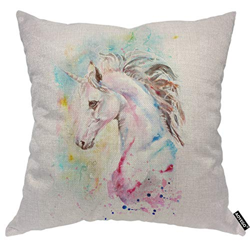 AOYEGO Unicorn Throw Pillow Cover Horse Head Watercolor Splash Animal Colorful Fantasy Portrait Sketch Pillow Case 18x18 Inch Decorative Men Women Boy Girl Room Cushion Cover for Home Couch Bed