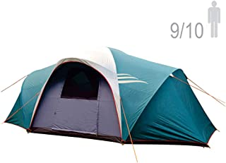 NTK LARAMI GT Tent up to 10 Persons, 10FT by 18FT by 6.9FT Height, 3 Season Camping 100% Waterproof 2500mm, Best Seller Deluxe Family Extra Large, Easy Color-Coded Assembly.