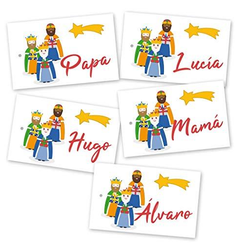 Etiquetas para los regalos de los Reyes Magos con nombre. 8x5cm. Pack de 5 unidades.