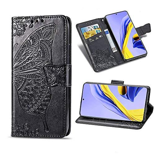TOPOFU LG Velvet 5G Hülle Flip Lederhülle,Schmetterling Muster Magnetische PU Wallet Ledertasche mit Ständer Kartensteckplätze Handyhülle für LG Velvet 5G-Schwarz