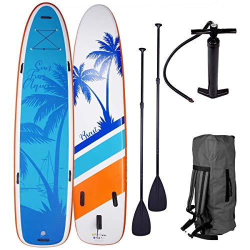 "SUP Board Stand up Paddle Paddling Surfboard ""Family"" 370x87x15cm bis 210kg aufblasbar 2X Paddel Hochdruck-Pumpe Rucksack gewebtes Drop Stitch"
