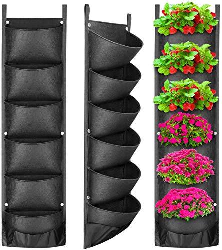ProLeo Verticale plantenzakken, 6 zakken, hangend vilt, tuinplantenzak, uitgebreid en verzonken zakken voor balkon, tuin, tuin, kantoor, woondecoratie