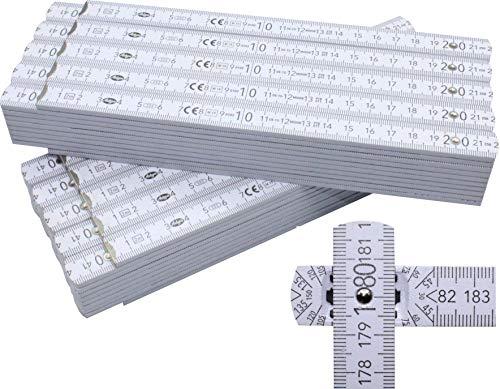 10 Stück Zollstöcke Zollstock weiß 2m mit 90°/180° Winkeleinrastung und Winkelskala (30°/60°/90°) - Adga 250 plus Markenzollstock aus Buchenholz - weiß ohne Werbeaufdruck